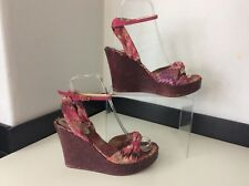 Missoni Wedge Pink Knitted Sandal Shoes Size 38 Uk 5