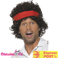 Mens 80s Eigthies Tennis Player Wig Headband Athletes Costume Accessories Wigs
