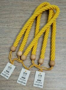 Thick Rope Wood Curtain Tiebacks Chunky Tieback Nautical Tieback Yellow Set of 3