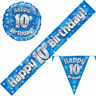 10th Birthday Pennant Flag Banner Blue and Silver Party Decorations Age 10 Boys