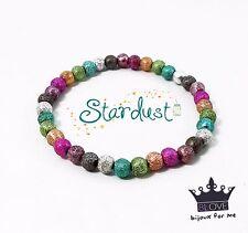 Bracciale STARDUST con perle 6mm glitter braccialetto colorato ELASTICO Donna