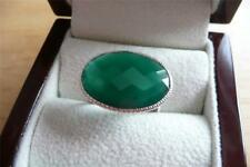 FAB STYLISH OVAL GREEN ONYX 925 STERLING SILVER CHEQUERBOARD CUT RING Sz P 8