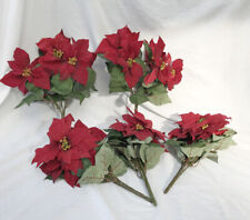 JOB LOT CLEARANCE 5 Red Poinsettia Flower Spray Bunch Christmas Rose Decorations