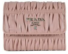 New Prada 1MH840 Nappa Gaufre Ruched Pink Leather Trifold Wallet W/Coin Pocket