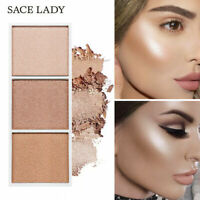 Professional Face Powder 3 Colors Bronzer Highlighter Powder Palette Cosmetics