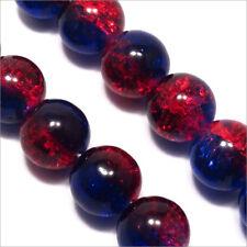 perle vintage lot de 20 perle en verre ronde ovale rouge rayé noir