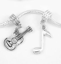 Guitar charm only guitar mariachi charm with music note  giftfits European items