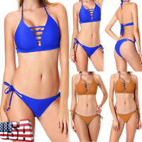 Women's 2 pieces Bandage Bikini Set Swimwear Push Up Swimsuit Bathing Suit Hot