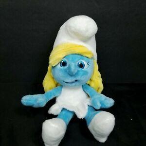 """Smurfette The Smurfs Blue White Chenile Hair Girl Plush Stuffed Animal 8"""" Jakks"""