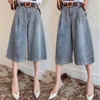 Women High Waist Denim Pants Wide Leg Culotte Fashion Loose Jeans Simple Shorts