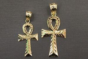 10K Solid Yellow Gold Men Women Diamond Cut Ankh Egyptian Cross Charm Pendant.
