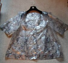 CHANEL transparent rainjacket/coat CC logo throughout pearl buttons NWT Size 40