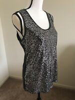 RUE21 Women's Sequin Front Sleeveless Tank Tee Shirt Top Size XL Scoop Neck