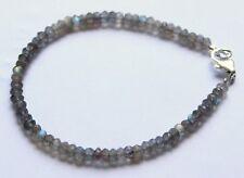 Labradorite Bracelet Gemstone Bangle Faceted Rondelle Jewelry approx. ca.19,5 cm