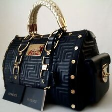 *MINT* GIANNI VERSACE COUTURE LEATHER GRECA QUILT DOCTOR HANDBAG BLACK ITALY