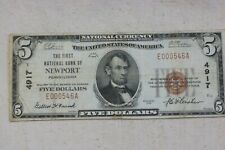 1929 $5 Newport  PA  National Bank Note Perry County