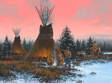 """""""By the Fire's Glow"""" John Paul Strain Classic Canvas Giclee - Blackfoot Indians"""