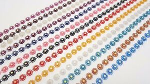 1 METRE FLOWER TRIM LACE, FLAT BACK ACRYLIC STONE BEADED, 13 COLOURS AVAILABLE