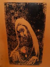 """LEO FECHT """"SACRE COEUR"""" ORIGINAL HAND PAINTED ACRYLIC ON PAPER MEZZOTINT 1957"""