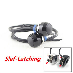 2pcs Black Alloy Motorcycle Switch Push Button Self Latch Key for LED Work Light