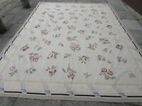 Old Hand Made French Design Wool 12x9 Grey white Original Aubusson 364X267cm