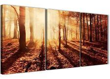 3 pannelli tela ALBERI AUTUNNALI PAESAGGI Forestali Scenic - 3386 Arancione 126 cm