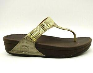 Fit Flop Brown Gold Embellishes Slide Casual Flip Flop Sandals Shoes Women's 7