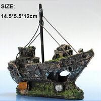 Aquarium Ornament Wreck Sailing Boat Sunk Ship Destroyer Fish Tank Cave Decor ..