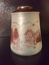 Vintage Bartlett Collins Pokee Hansel & Gretel Frosted Glass Cookie Jar Brown