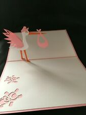 Stork Girl 3D PopUp Card New Baby Pink Birth Love Anniversary Greeting Card