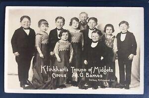 Antique Klinkharts Troupe Of Midgets A G Barnes Circus Sideshow AZO Postcard