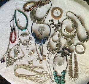 Unusual job lot Costume jewellery Lagenlook modernist brutalist East Bibi silver