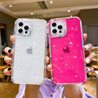 For iPhone 12 11 Pro Max X XR SE 8 7 6 Clear Bling Glitter Shockproof Case Cover