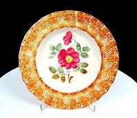 "ANTIQUE PORCELAIN BROWN SPONGE-WARE RIM HAND-PAINTED FLOWER 7 1/4"" CABINET PLATE"