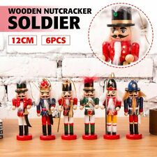 Christmas Pendant 6pcs Vintage Handcraft Wooden Nutcracker Doll Soldier Puppet