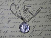 "Necklace Pendant BU Silver Mercury Dime Coin 925 Sterling Silver Chain 18"""