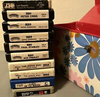 Rock Music 8-Track Lot W/ Retro Case VTG Led Zeppelin Kiss Eagles Rare HTF