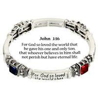John 3:16 Prayer Bangle Bracelet SILVER MULTI Crystals Stretch Bible Verse