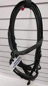 EXCELSIOR (Ekkia) Diamond Bridle With Rubber Reins Black Pony