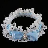 Satin Lace Garter Bride Bow Rhinestone Pearls Thigh Ring Wedding Accessory