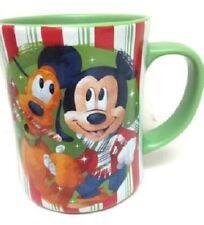 Disney Store Mickey Pluto Minnie Christmas Candy Cane Striped Coffee Mug Cup