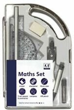 9 Piece Maths Geometry Set Back To School Exam Stationery Compass Protractor CMA