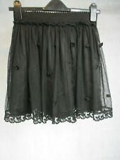 Women's Black Net Mini Falda por cerita Totalmente Forrado 100% nylon UK Tamaño Pequeño 8