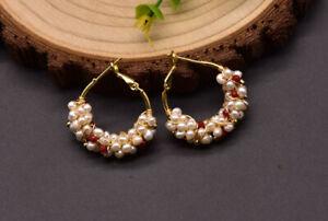 B15 Dorée Boucles D'Oreilles Créoles Arches Avec Blanc Perles D'Eau Douce
