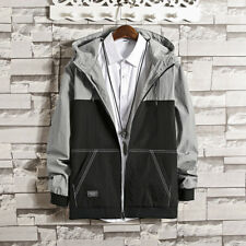 Color Blocking Labeling Casual Jacket for Men - Black