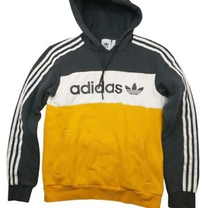 Adidas Originals Men's Small Trefoil Firebird Yellow Pullover Hoodie Sweatshirt