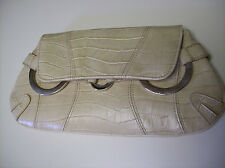 New York & Company Fold Over Beige Croc Embossed Clutch Purse Handbag Bag