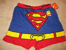 NWT BRIEFLY STATED MAN OF STEEL BLUE YELLOW RED BLACK BOXER WITH CAPE SZ LARGE