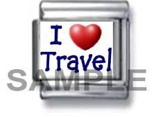 I HEART (LOVE) TRAVEL 9MM ITALIAN PHOTO CHARM LINK vacation fly world holiday
