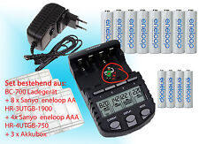 BC700 Quick Charger+Eneloop Panasonic Batteries 8x AA + 4x AAA + 3 Battery Boxes